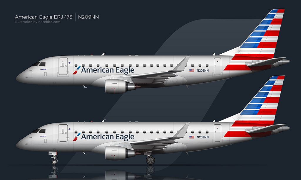 American Eagle Embraer 175 illustration