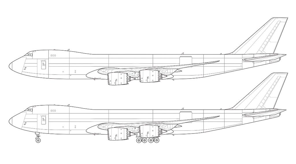 747-8F cargo side view drawing