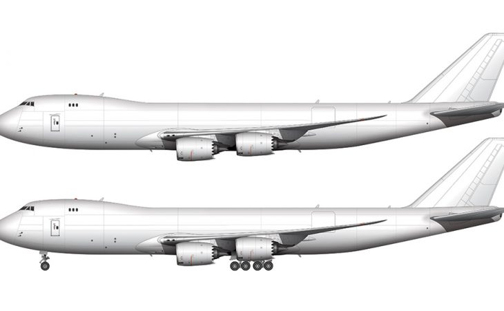boeing 747-8F side view drawing