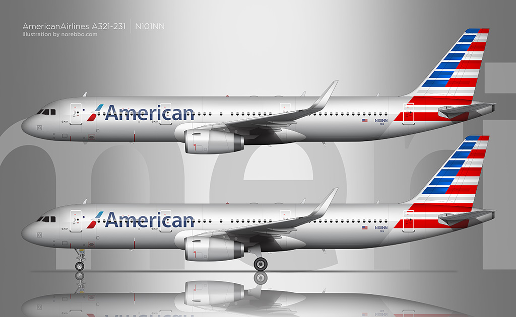 American Airlines A321 side view rendering
