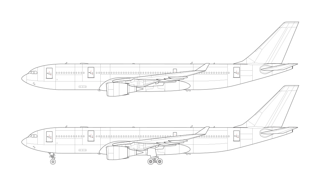 a330 line drawing ge engines side view