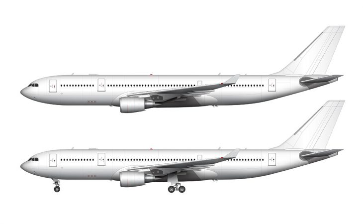 airbus a330 ge engines side view