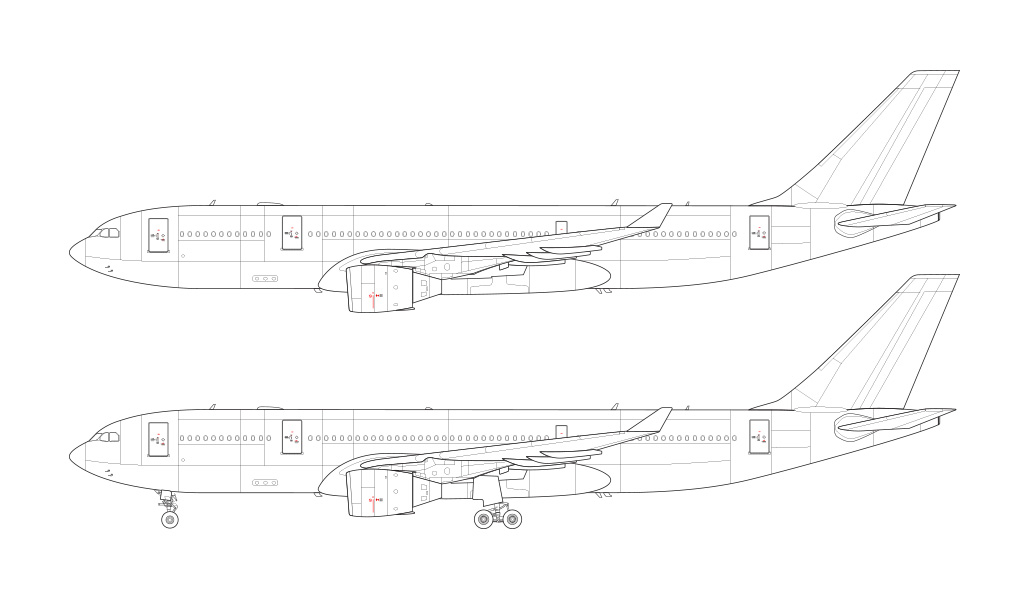 a330-200 pratt & whitney line drawing