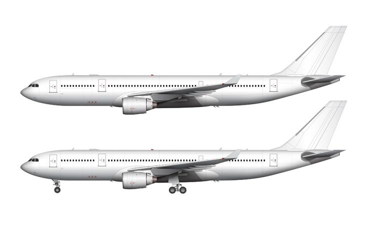 A330 pratt & whitney engines side view