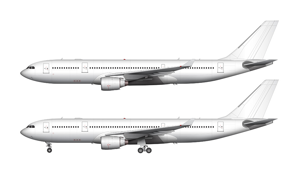 A330 pratt & whitney engines side view