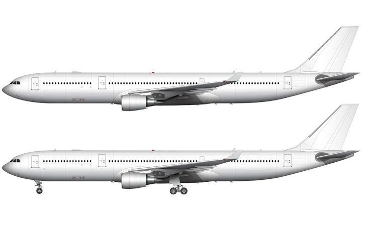 Airbus A330 white side view