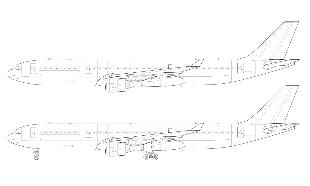 a330 pw engines wireframe