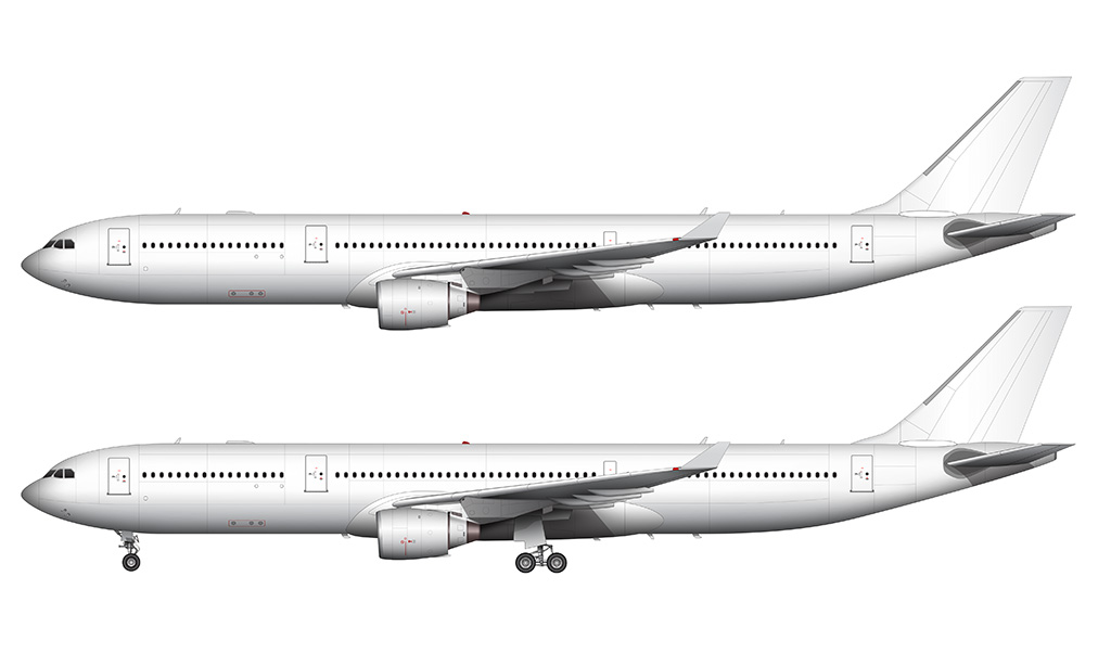 All white A330-300 pw engines