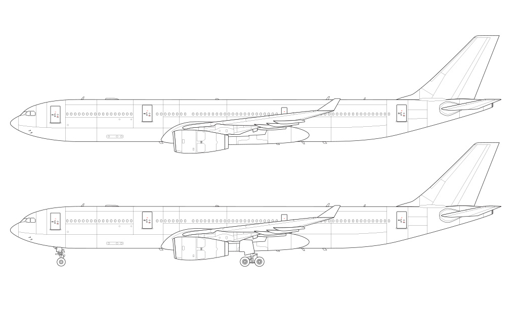 a330 RR engines wireframe