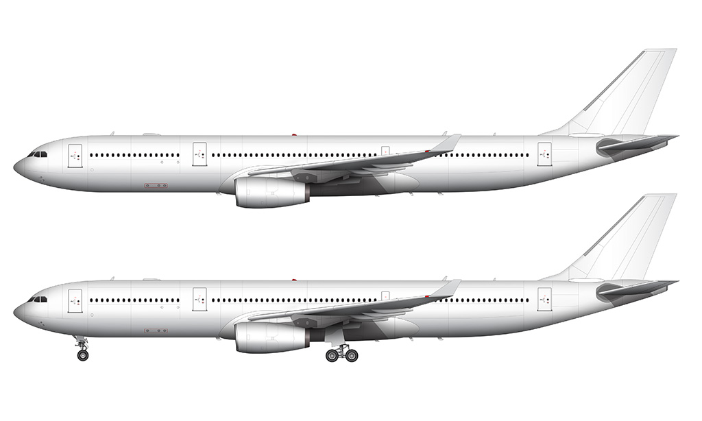 a330-300 white side view rr engines