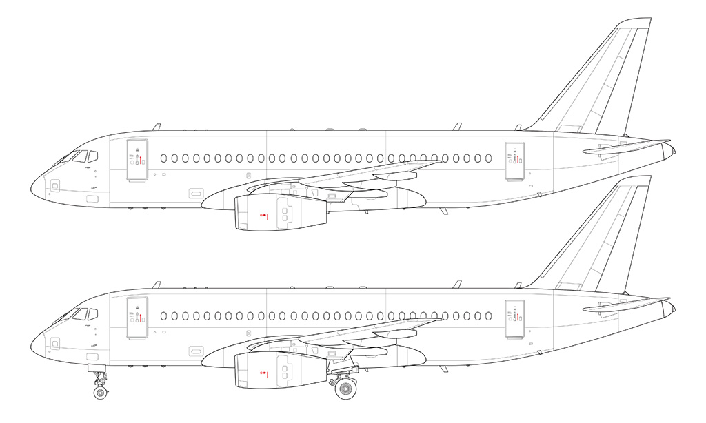 sukhoi SSJ-100 line drawing
