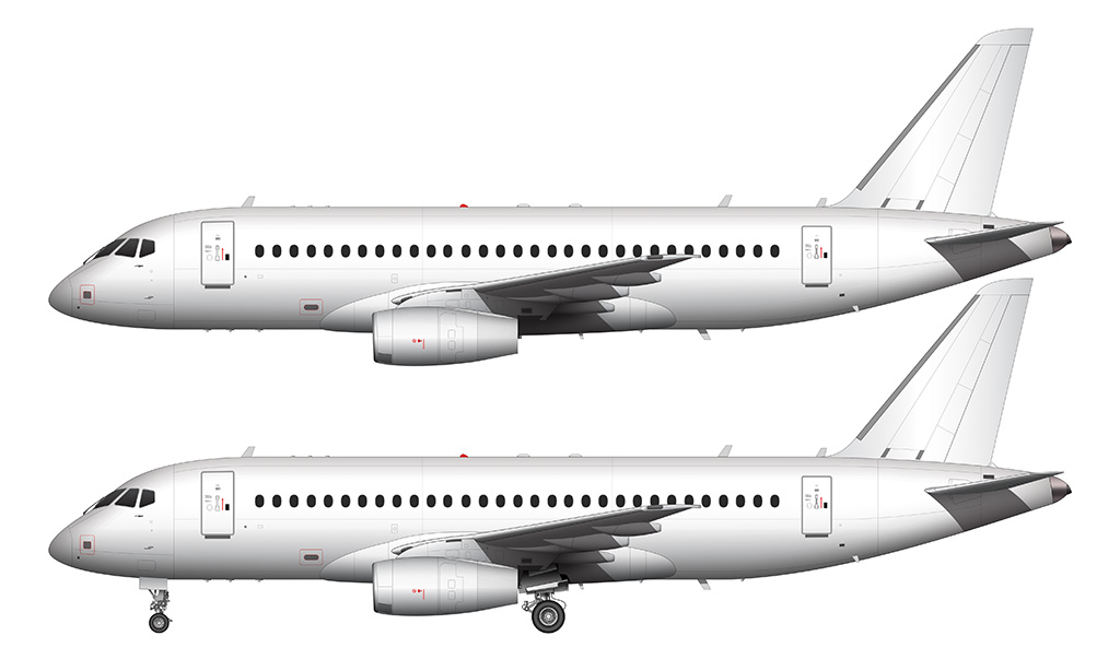 white sukhoi ssj-100 side view