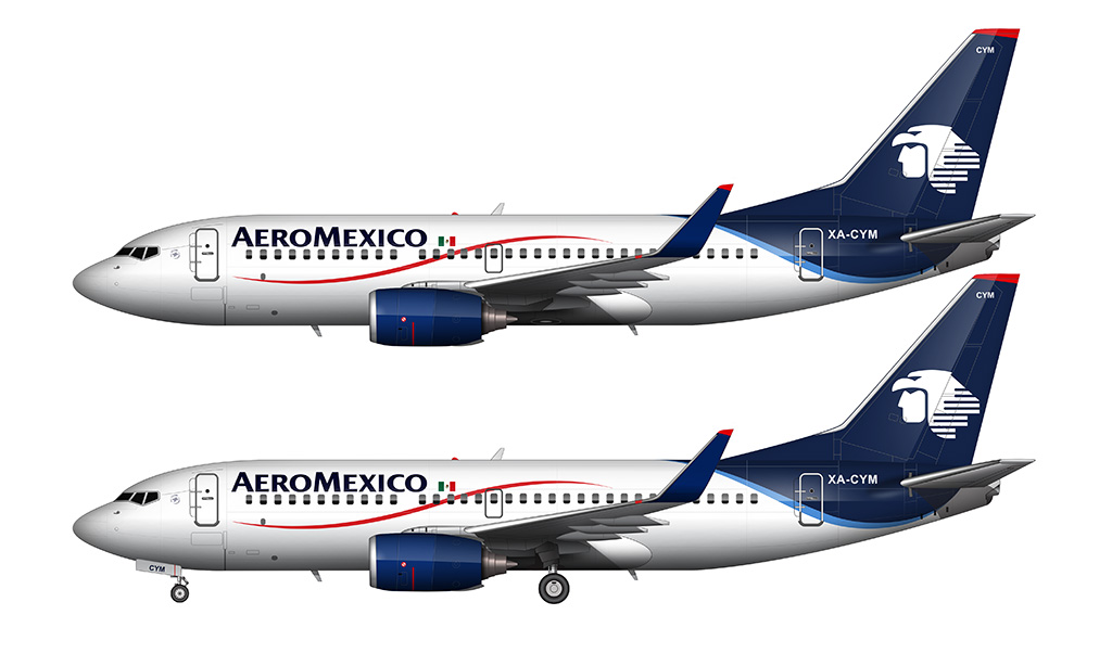 AeroMexico 737-700 side view white background