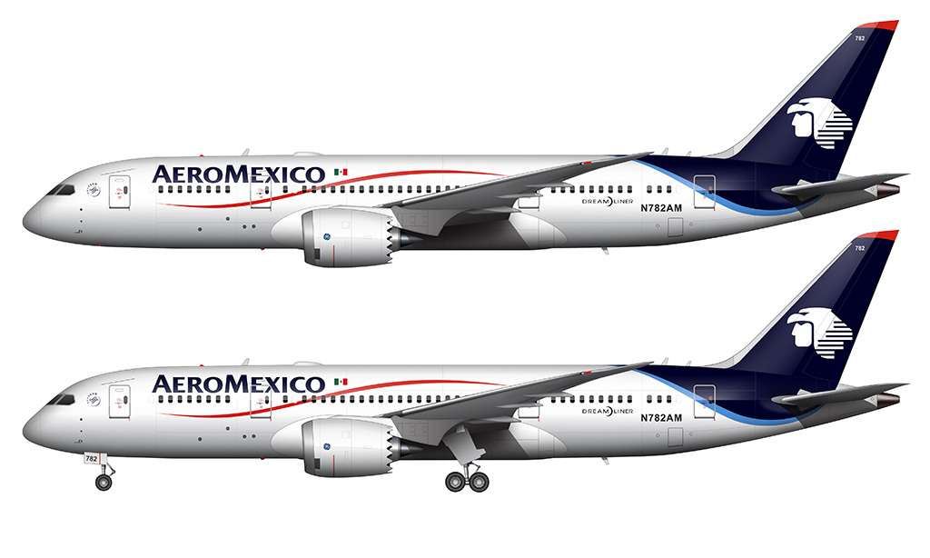 aeromexico 787 side view white background