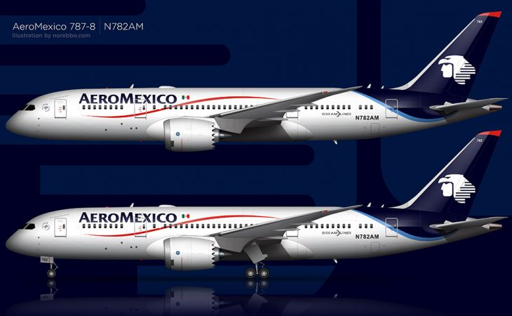 AeroMexico 787-8 side view rendering