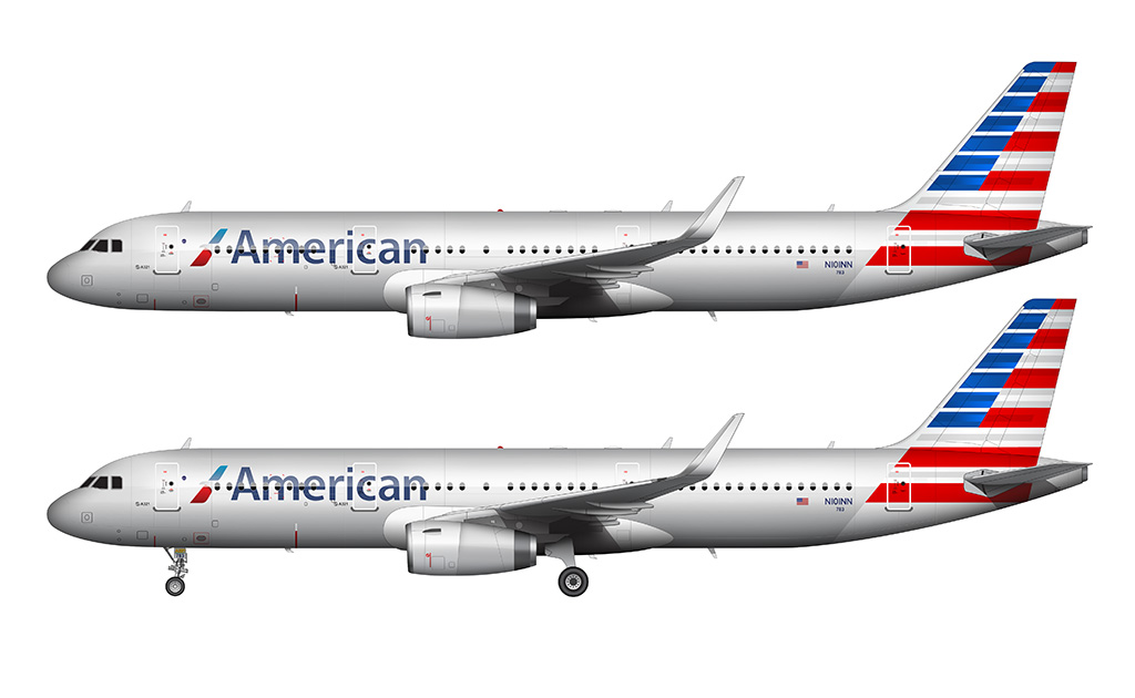American airlines a321T side view