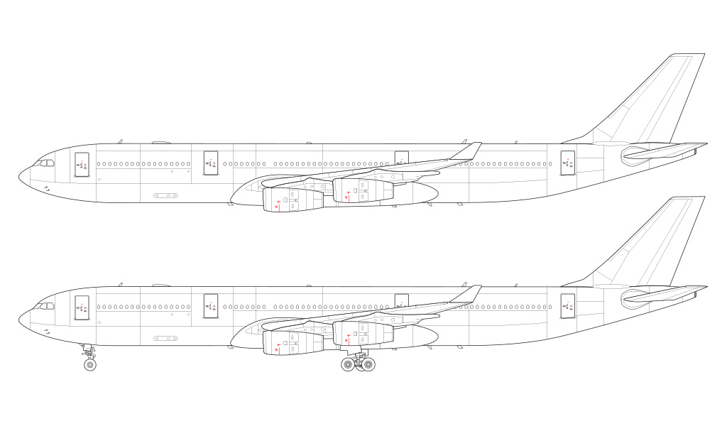 A340-300X side profile line drawing