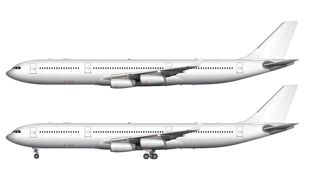 Airbus A340-300X all white side profile