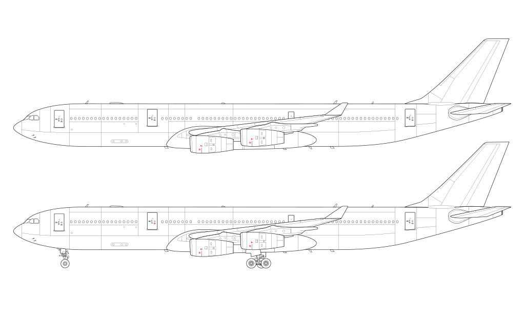 airbus a340-300 line drawing
