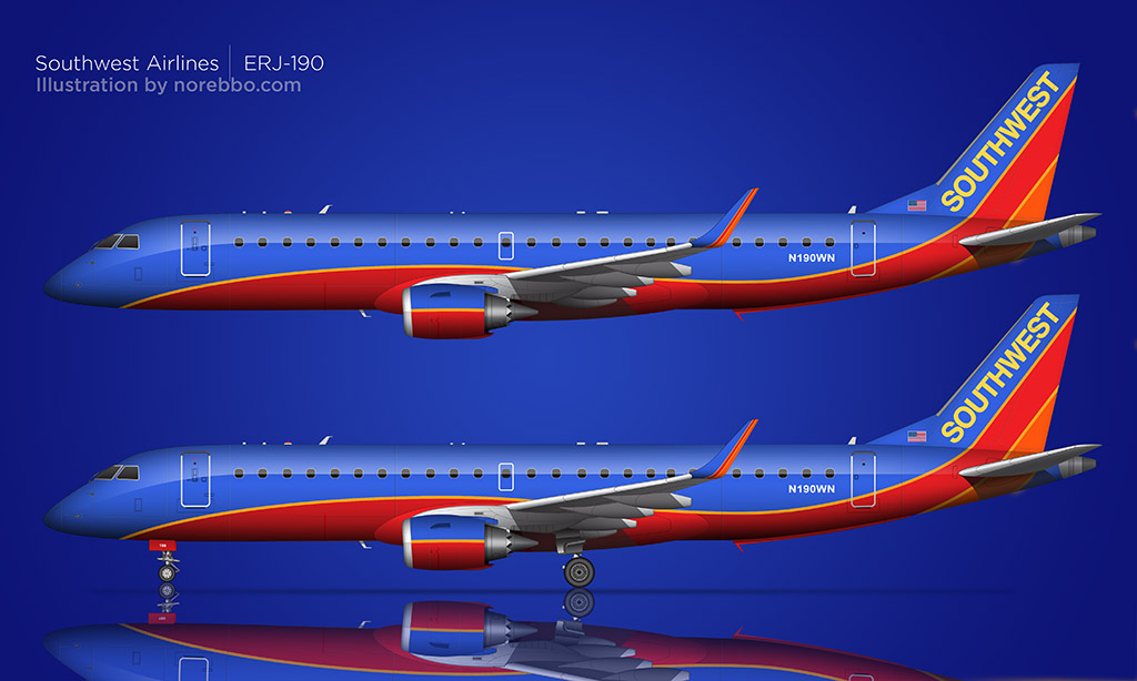 Southwest Airlines E190 drawing