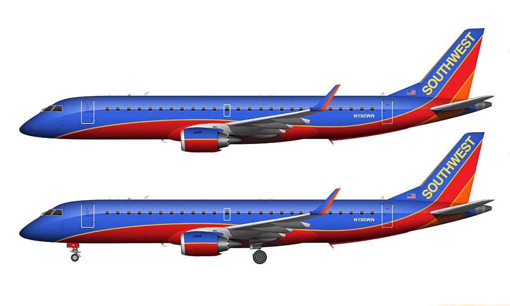 southwest e190 side view