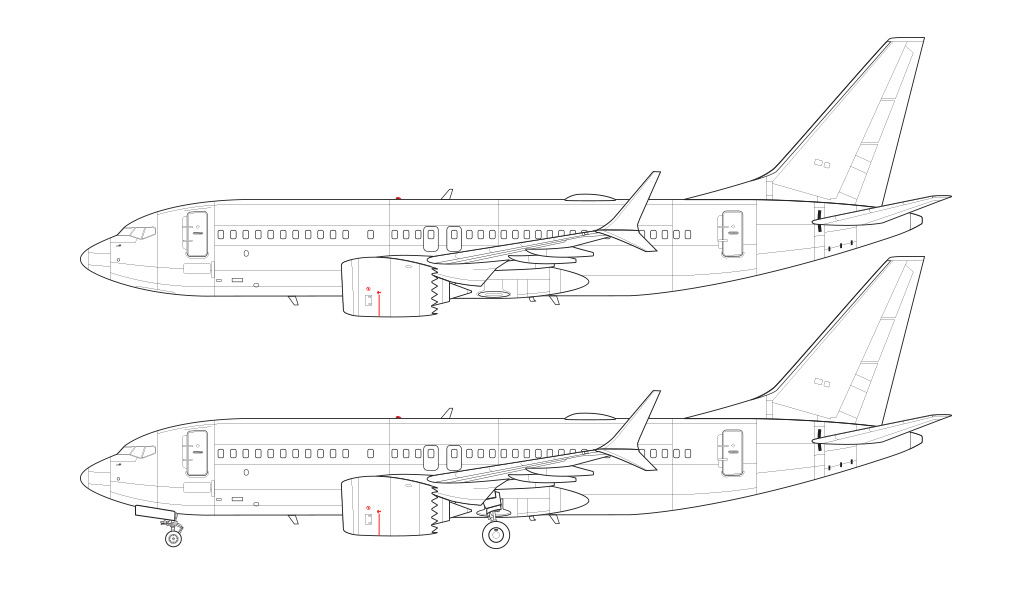 737 MAX 7 line drawing blueprint