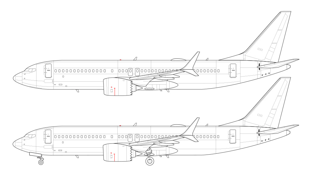 737 MAX 8 line drawing blueprint