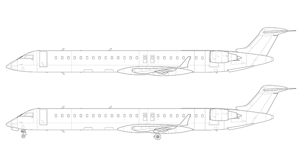 CRJ-900 side view line drawing