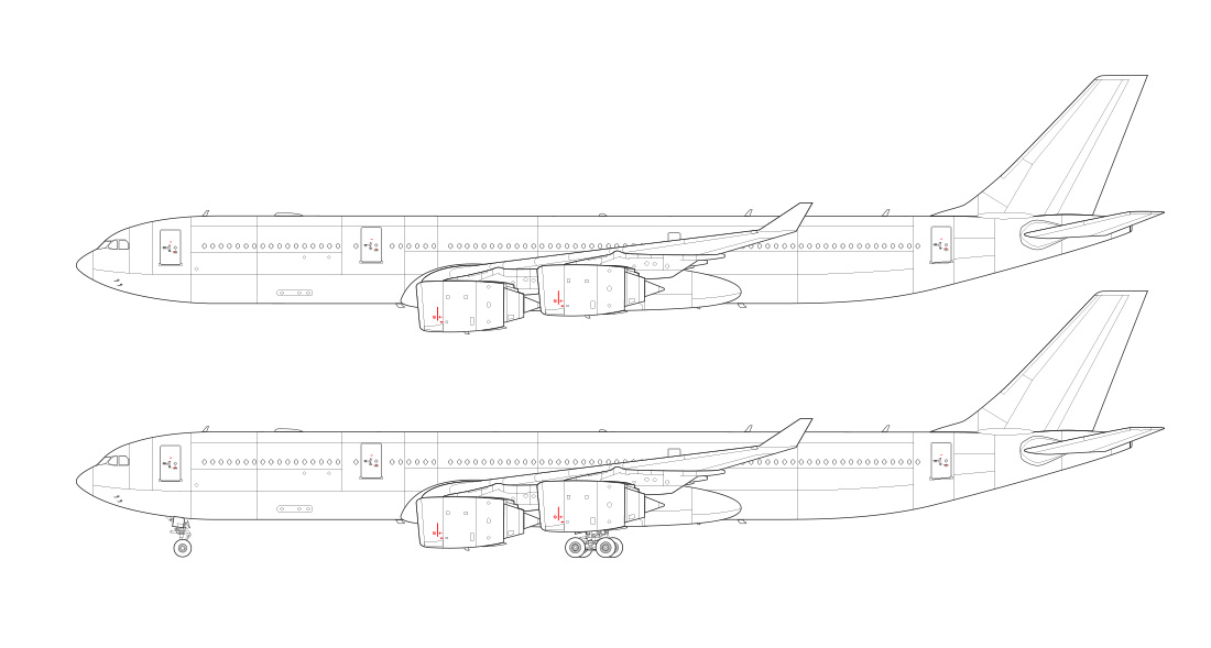 a340-500 line drawing side view
