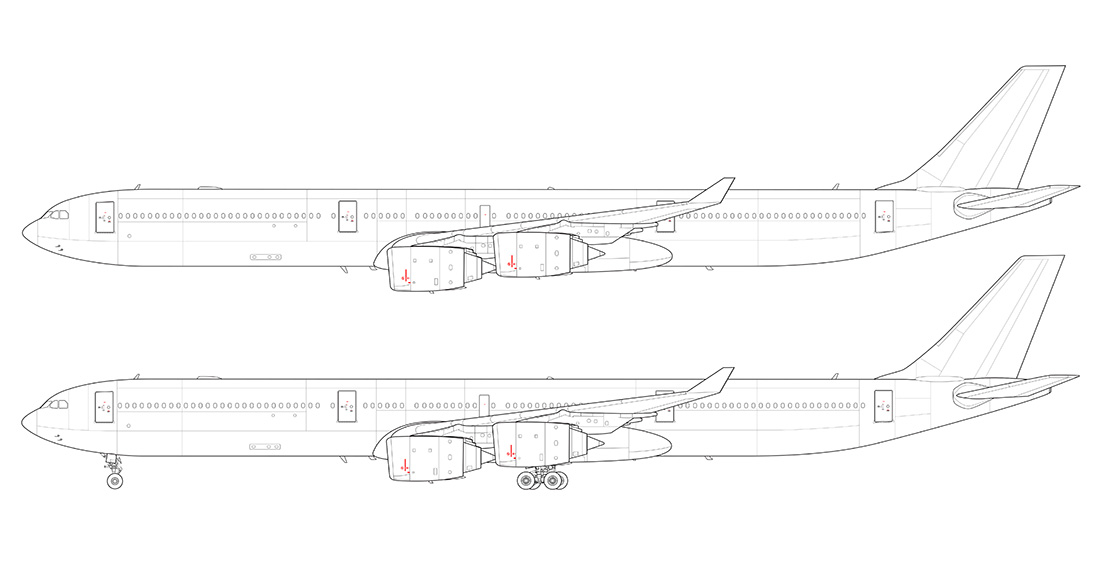 airbus a340-600 side view line drawing