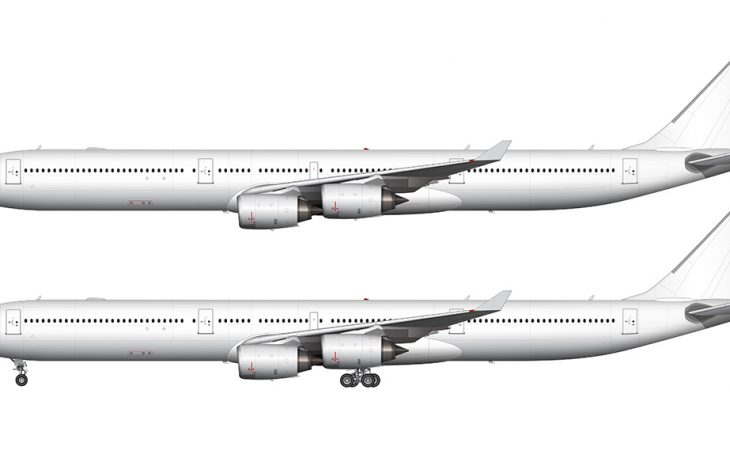 all white a340-600 side view