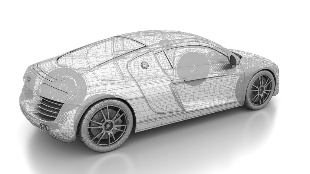 Wireframe over the 3d model