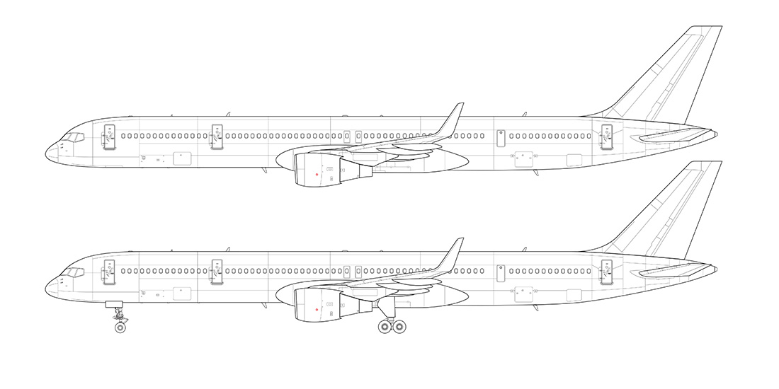 757-300 line drawing side view