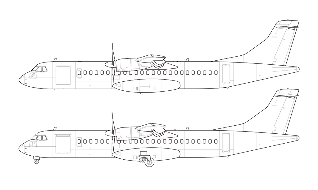 ATR 72 side view line drawing