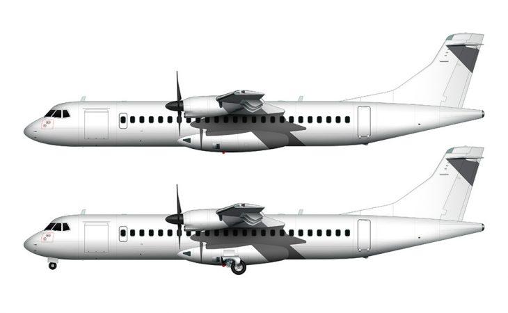ATR 72 all white side view