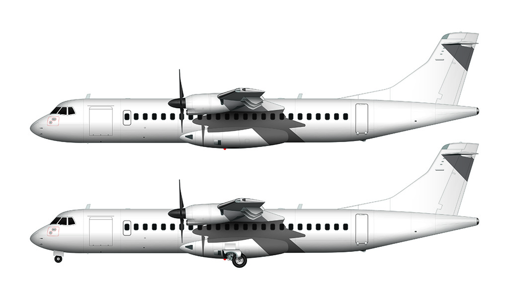 ATR 72 all white side view
