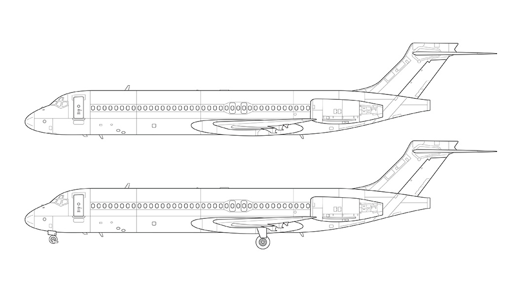 Boeing 717 side view line drawing