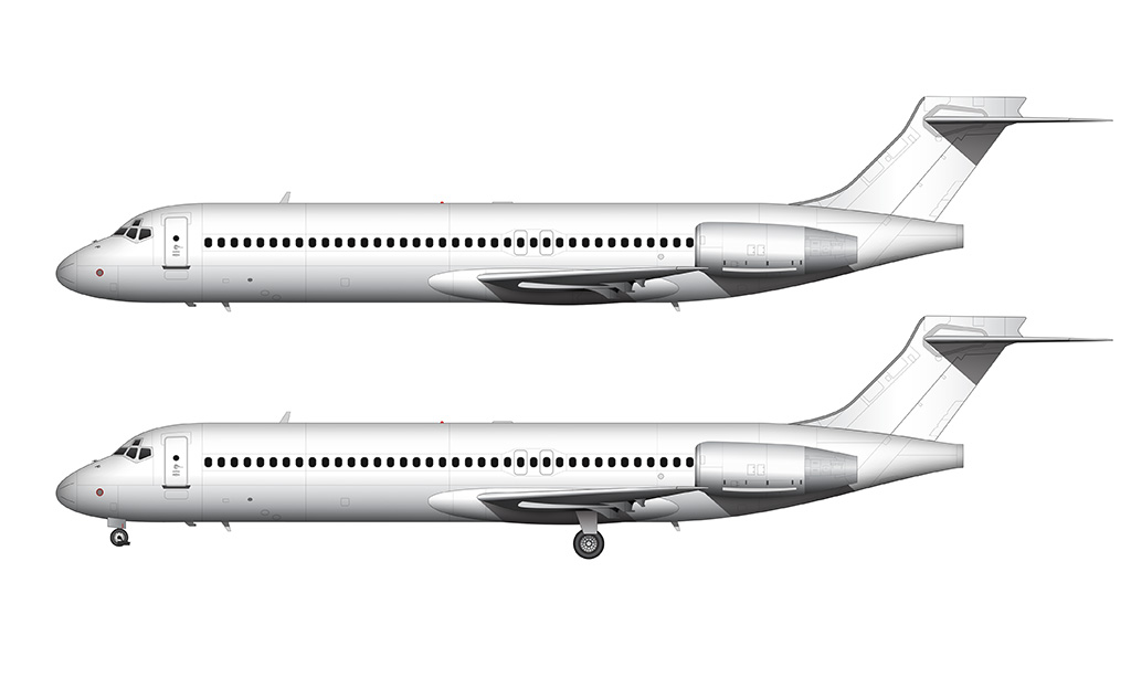 side profile all white boeing 717