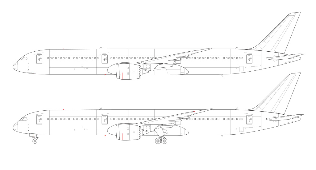 Boeing 787-10 blueprint