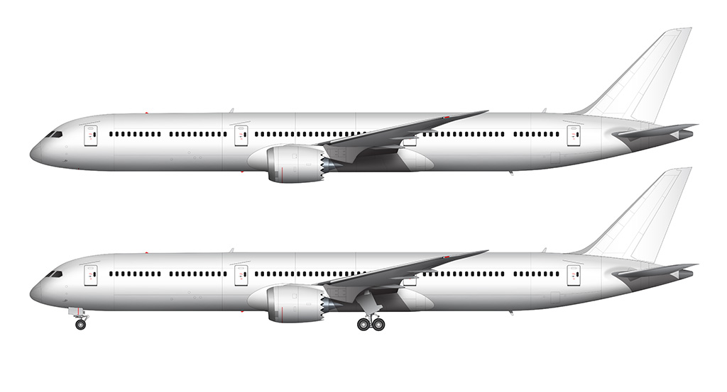 All white Boeing 787-10 side view