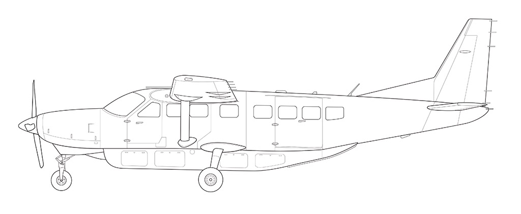 cessna 208 grand caravan line drawing side view