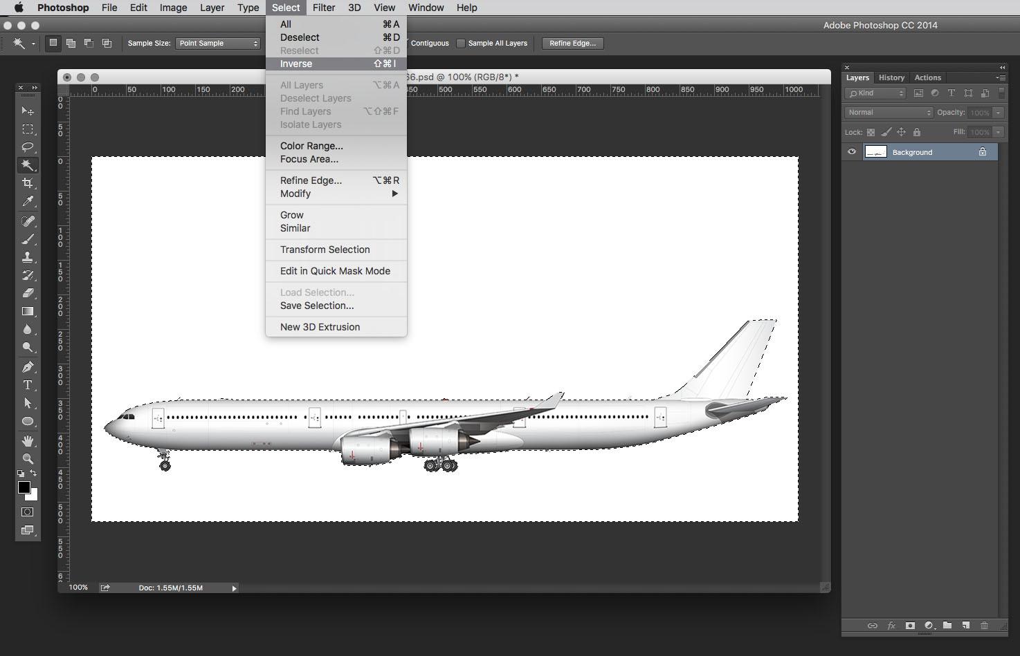 select inverse tool photoshop menu