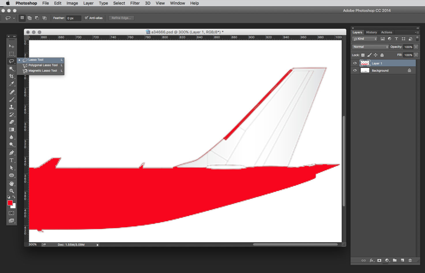 use lasso tool to select vertical stabilizer