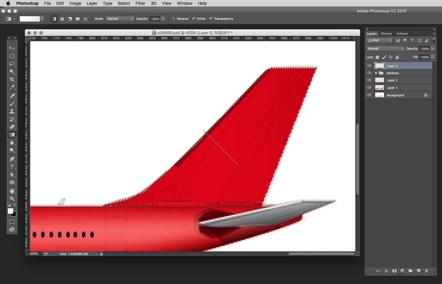 applying linear gradient photoshop