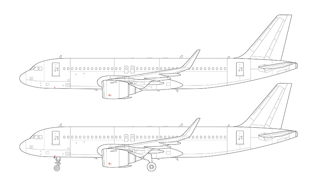 A320 NEO CFM engines line drawing