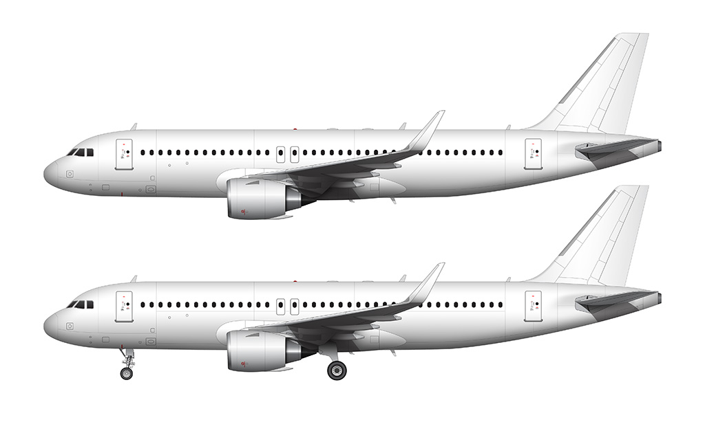 A320 NEO CFM engines side view