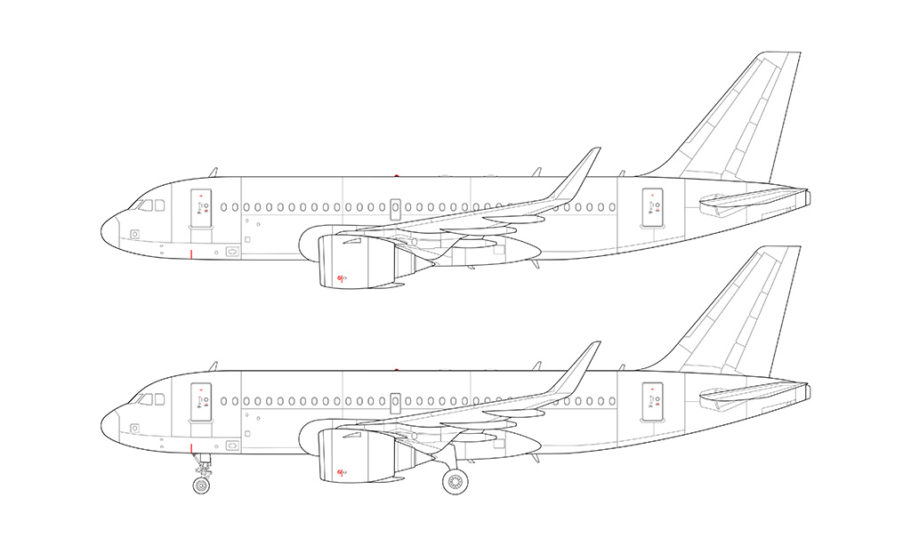 A319 NEO LEAP engines blueprint