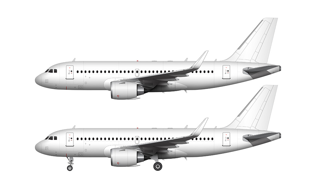 A319 NEO LEAP engines side view