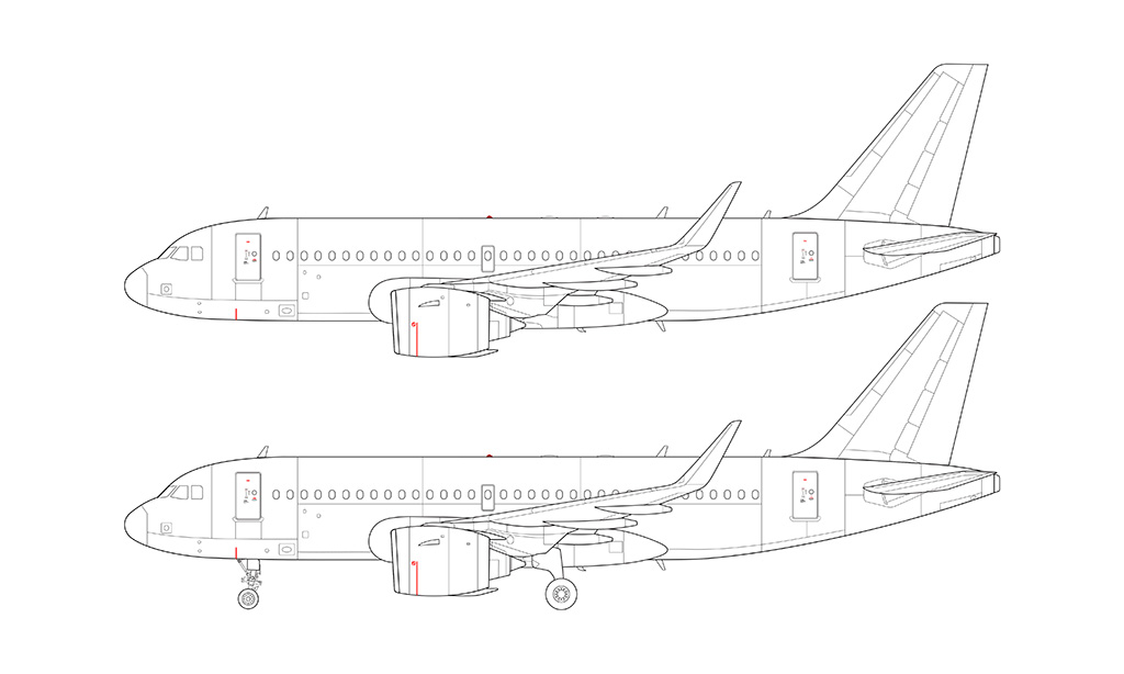 A319 NEO Pratt & Whitney blueprint