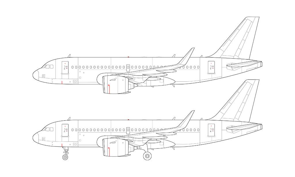 A319 NEO Pratt & Whitney blueprint